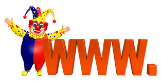 Clown with WWW sign Stock Photo