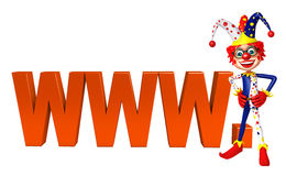 Clown with with WWW sign Royalty Free Stock Image