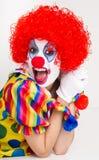 Clown Yelling Close Up Portrait Bright Beautiful Female Perform Stock Photos