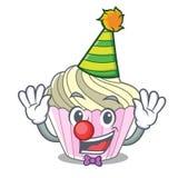 Clown yummy meringue cake on mascot cartoon. Vector illustration vector illustration