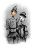 Clowne mit Akkordeon Stockfoto
