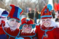 Clowne am Montreal-Schnee-Festival Lizenzfreie Stockbilder