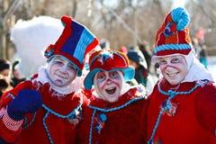 Clowne am Montreal-Schnee-Festival Lizenzfreies Stockfoto