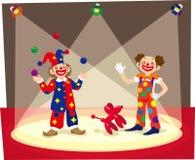 Clowne in Stadium Stockbild