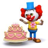 clownen 3d får en överraskningkaka Royaltyfri Bild