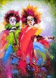 clowner två Arkivbilder