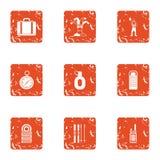 Clownery icons set, grunge style. Clownery icons set. Grunge set of 9 clownery vector icons for web isolated on white background Royalty Free Stock Image