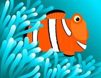 Clownfische, die in den Anemonen sich verstecken Stockfoto