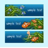 Clownfische unter den Algen auf einem blauen Hintergrund vektor abbildung