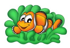 Clownfish in anemone. Color illustration of clownfish in anemone Stock Photography