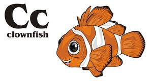 Clownfish and black abc. Happy orange clownfish with black word and letters c royalty free illustration