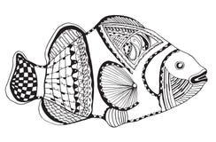 Clownfish zentangle传统化了,导航,例证,徒手画的笔 库存照片