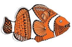 Clownfish zentangle stylized, vector, illustration, freehand pen Stock Photos