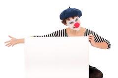 Clownfrauen-Holdinganschlagtafel Stockbilder