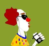 Clowning listening to music stock illustration