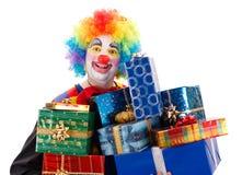 Clown med gåvor arkivbilder