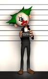 Clownmugshotbrottsling Arkivbild