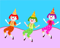 Clowns. Set of three colorful dancing  clowns Royalty Free Stock Photo