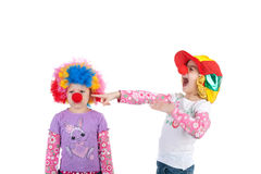 Clowns. One cute little clown laughing at another Royalty Free Stock Photo
