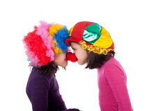 Clowns. Closeup image of two cute little clowns Stock Images