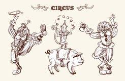 Clowns, aap en een varken Stock Fotografie
