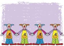 Clowns avec le fond pourpré Photo libre de droits