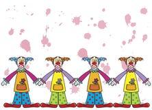 Clowns avec les splats roses Photo stock