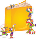 Clowns on book. Illustration of 5 clowns playing around a book Royalty Free Stock Images