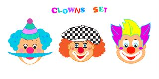 2019 Clowns characters mask, Happy Purim Festival Jewish Holiday Carnival icons masque set. Clowns characters mask set, Happy Purim Festival Jewish Holiday stock illustration
