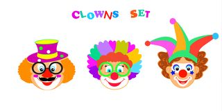 2019 Clowns characters mask, Kids Party Purim Festival Jewish Holiday Carnival icons masque set vector illustration