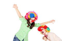 Clowns. Cute little children dressed as the clowns Royalty Free Stock Photo