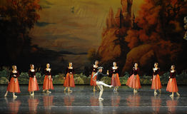 Clowns dance for everyone to see-ballet Swan Lake Stock Image