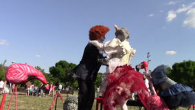 Clowns dancing. Clowns dressed in funny outfits dancing stock video