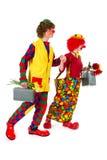Clowns de déplacement drôles Images libres de droits