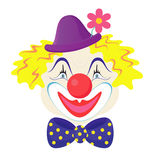 The clowns face. The funny clown in a cap with rose flower Stock Images