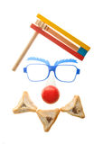 Clown's face - Purim arrangement with Hamentashen Stock Photos