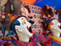 Clowns at the funfair. Sideshow clowns with big mouths at the funfair Royalty Free Stock Photo