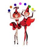 Clowns - jugglers Stock Image