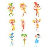 Clowns médiévaux et imbéciles réglés de Jester Characters With Painted Faces stylisé puéril et des équipements classiques Photos libres de droits