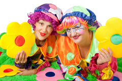 Clowns are making fun Stock Photography