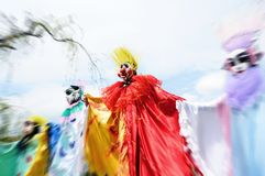 The clowns march. At the park festival Royalty Free Stock Image