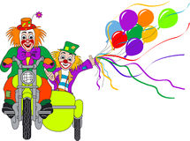 Clowns on motor bike. Two clowns on green motorcycle with sidecar Royalty Free Stock Photo