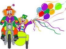 Clowns op motorfiets Vector Illustratie