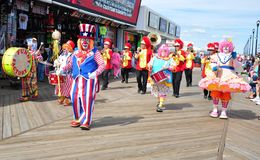 Clowns Parade. Clowns marching in parade at Seaside Park, NJ. Taken August 16, 2014 Royalty Free Stock Image