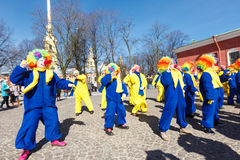 Clowns performance on Funny festival XVI in Petersburg Royalty Free Stock Image