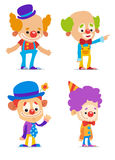 Clowns. Set of Cute Cartoon Clowns Stock Photo
