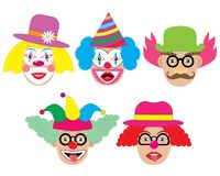 Clowns set, icons. Vector illustration. Clowns set, icons. Vector illustration Stock Photography