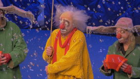 Clowns on the stage during Snow Show by Slava Polunin stock footage