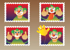 Clowns on stamps Stock Photography