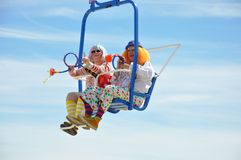 Clowns sur le tour de ciel Photographie stock